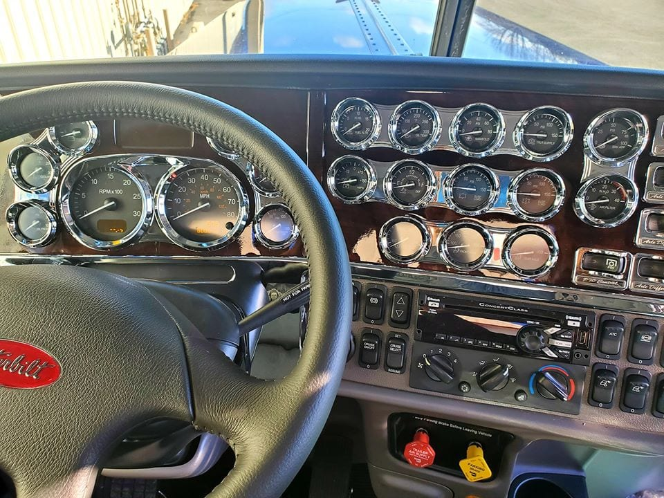 photo of cleaned interior cab steering wheel dials and buttons
