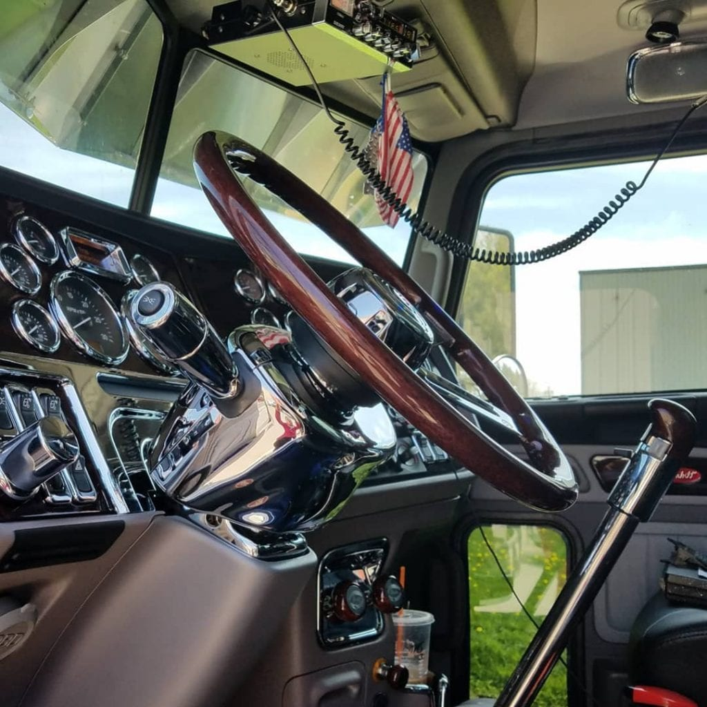photo of interior big rig truck cab fully cleaned