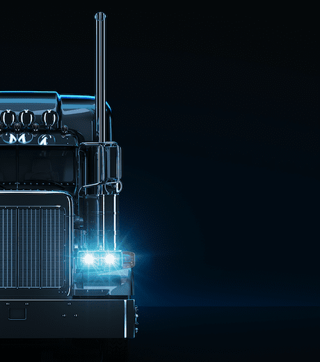 stylized graphic of big rig truck cab lights